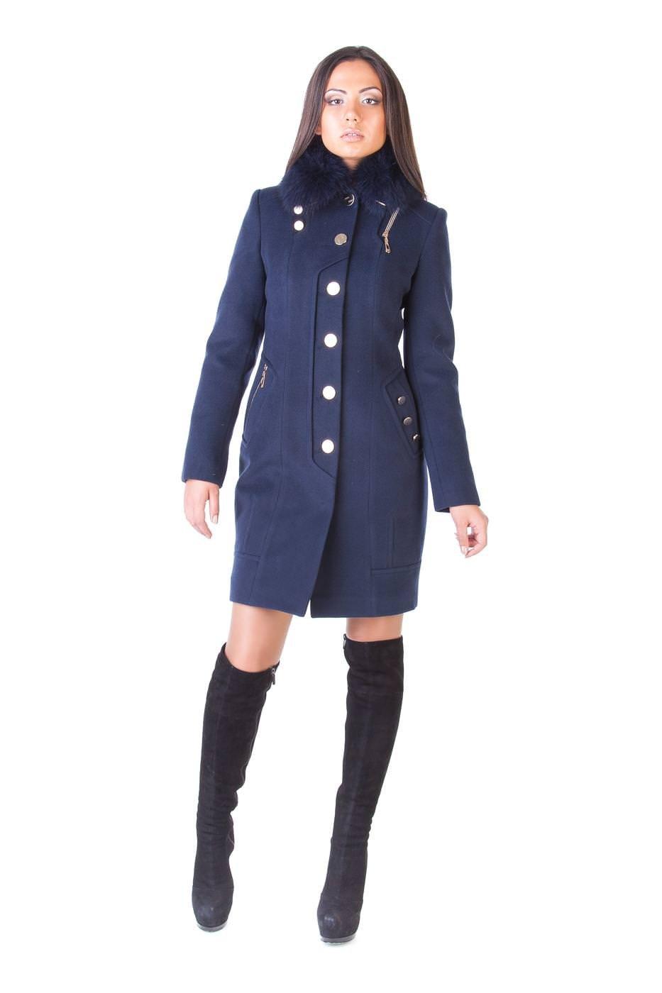 Модус женская одежда оптом недорого Пальто с мехом Айсберг комфорт