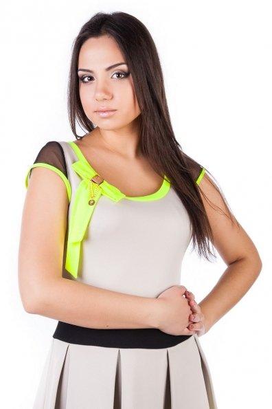 Платье Луиза 2068 Цвет: Светло - бежевый лимон неон