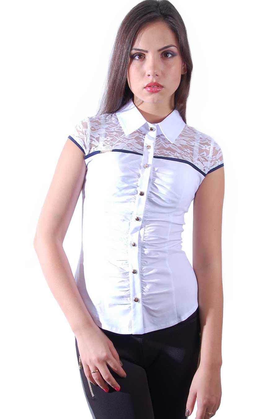 183a2b8875d Блуза Анита АРТ. 515 Цвет  Белый тёмно-синий - фото 1