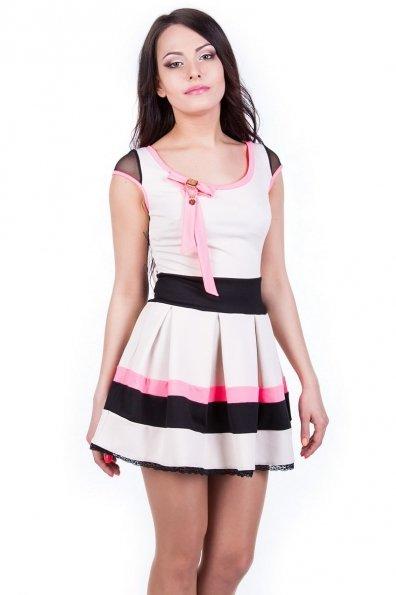 Платье Луиза 2068 Цвет: Светло-бежевый малина неон