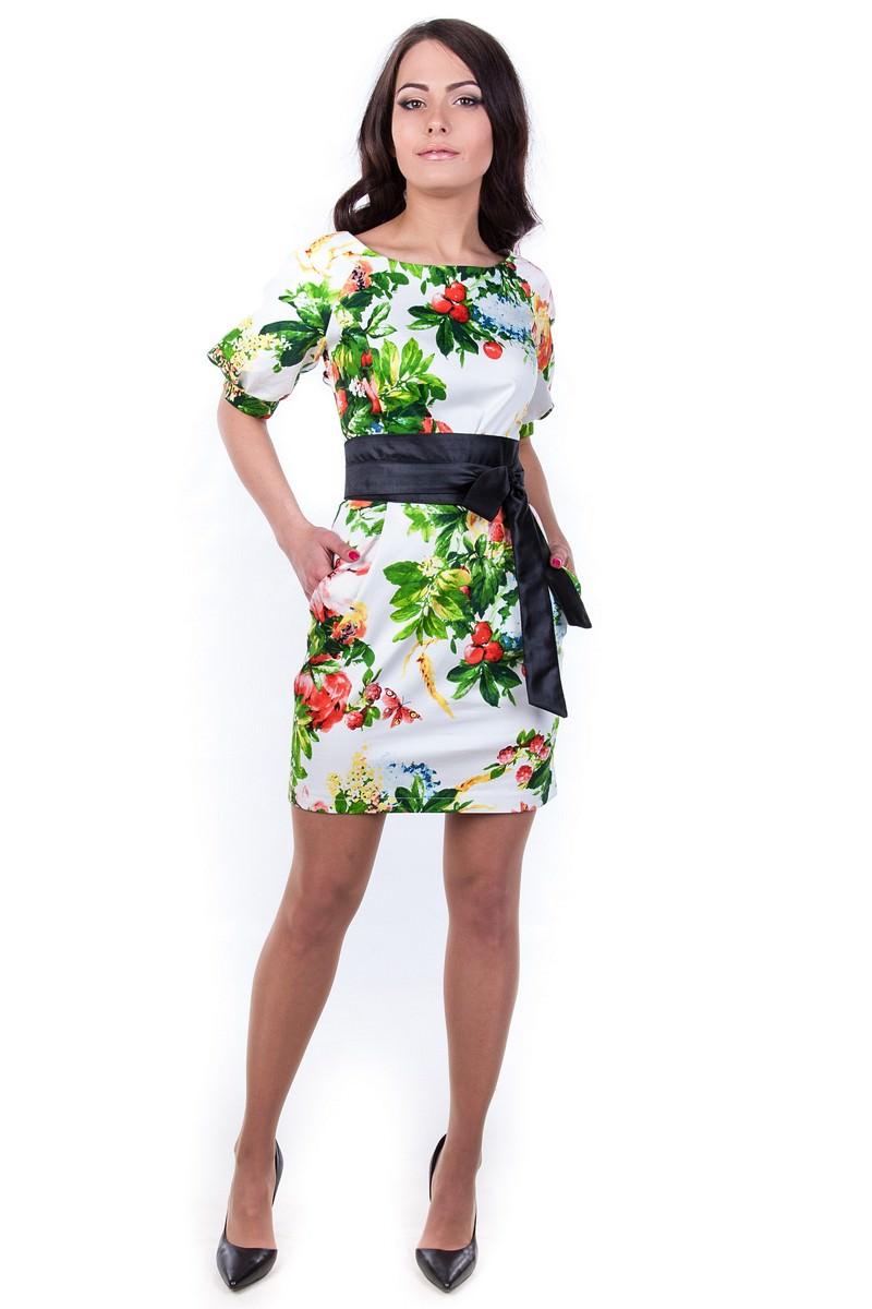 Женская одежда оптом от производителя Платье Дефиле принт