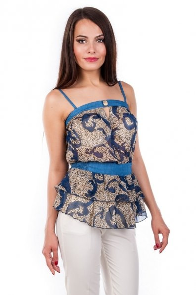 Блуза-топ Сальма 2547 Цвет: Темно - синий рябь, вензеля