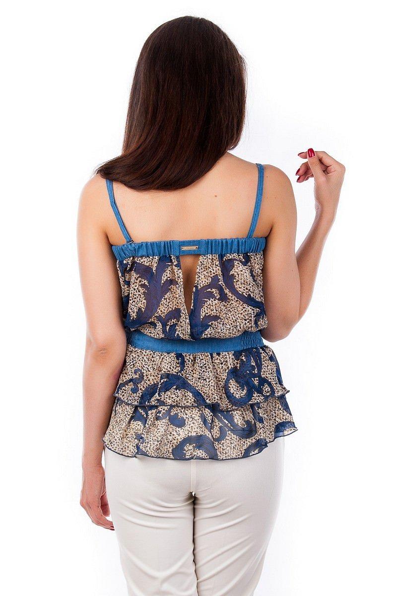 Блуза-топ Сальма 2547 АРТ. 1100 Цвет: Темно - синий рябь, вензеля - фото 4, интернет магазин tm-modus.ru