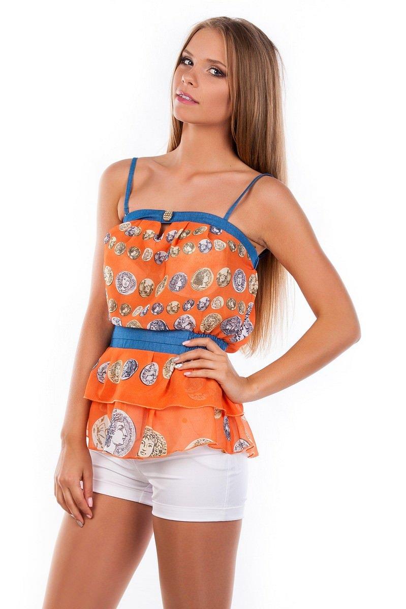 Блуза-топ Сальма 2547 АРТ. 1103 Цвет: Оранжевый монета - фото 3, интернет магазин tm-modus.ru