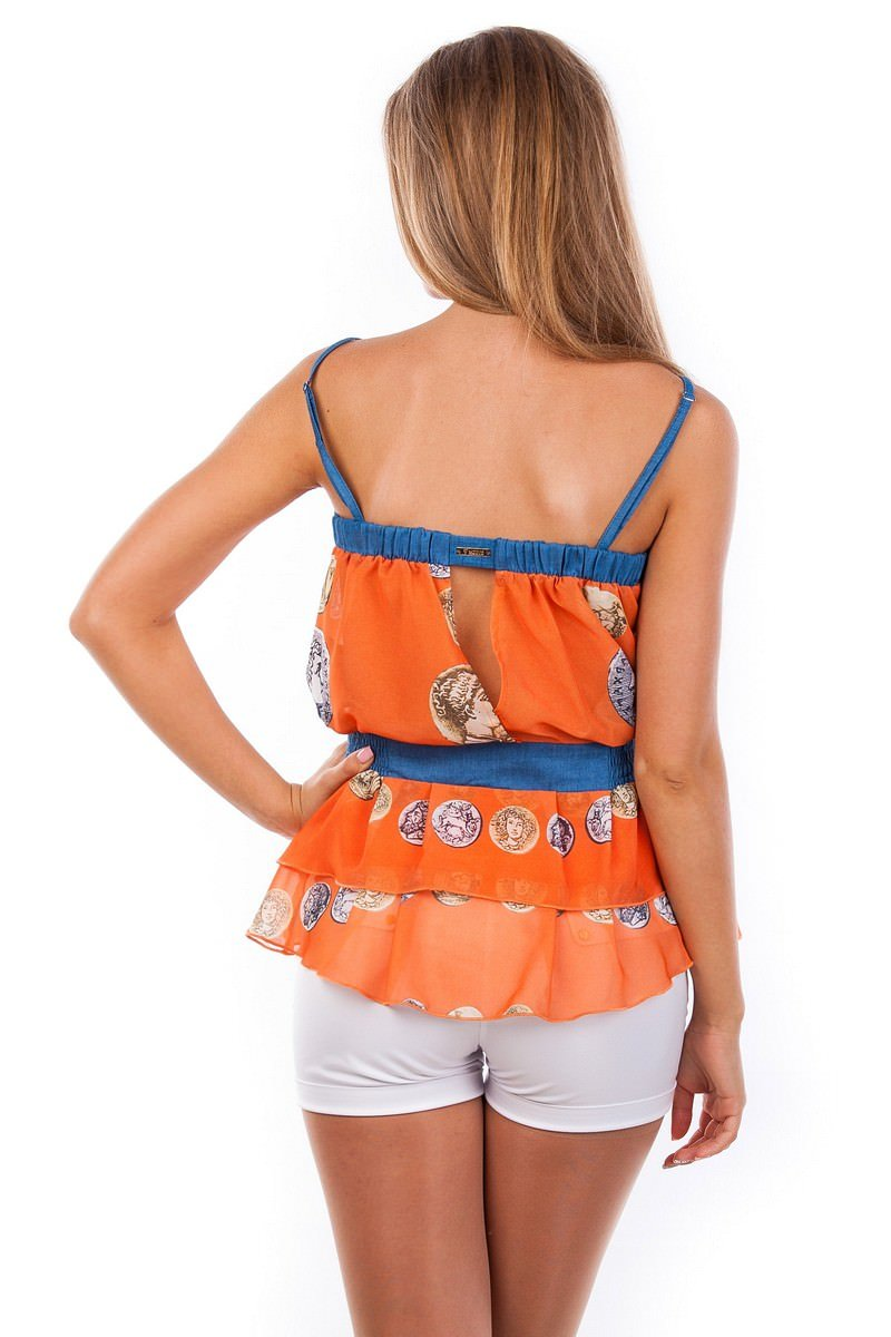Блуза-топ Сальма 2547 АРТ. 1103 Цвет: Оранжевый монета - фото 4, интернет магазин tm-modus.ru