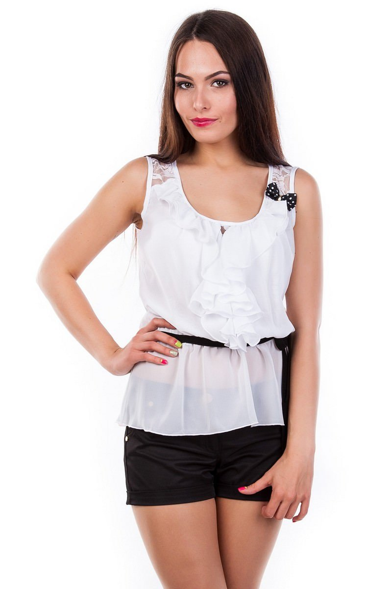Белые блузки оптом от MODUS Блуза Волан