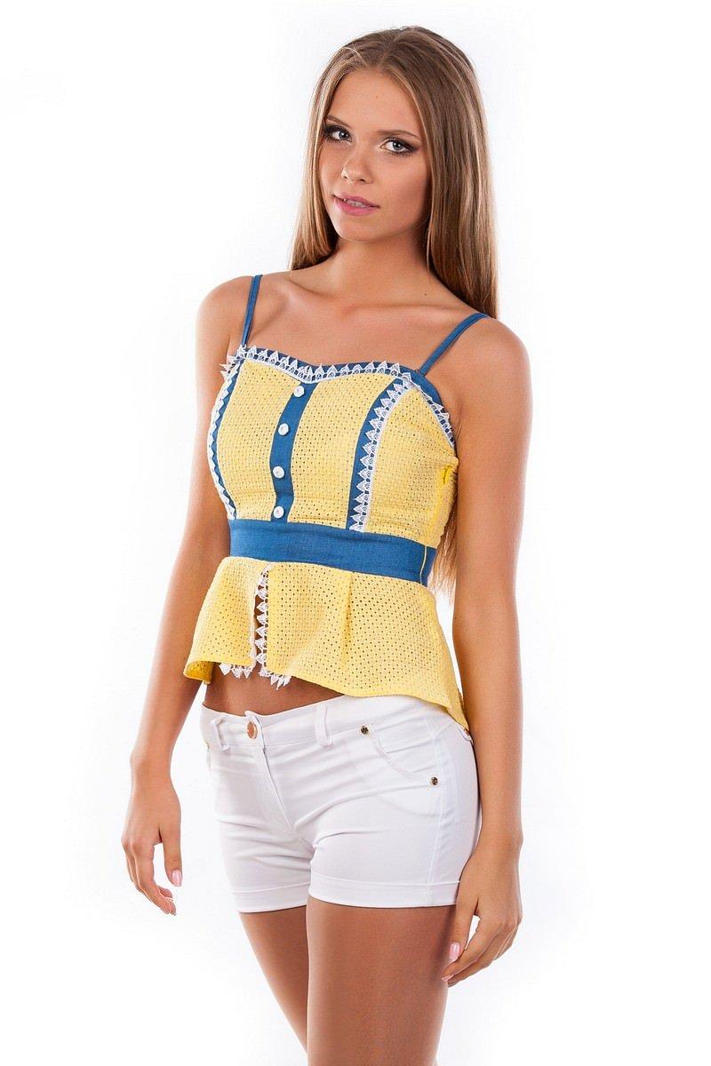 Блуза-топ Люсия 2563 АРТ. 1140 Цвет: Желтый - фото 3, интернет магазин tm-modus.ru