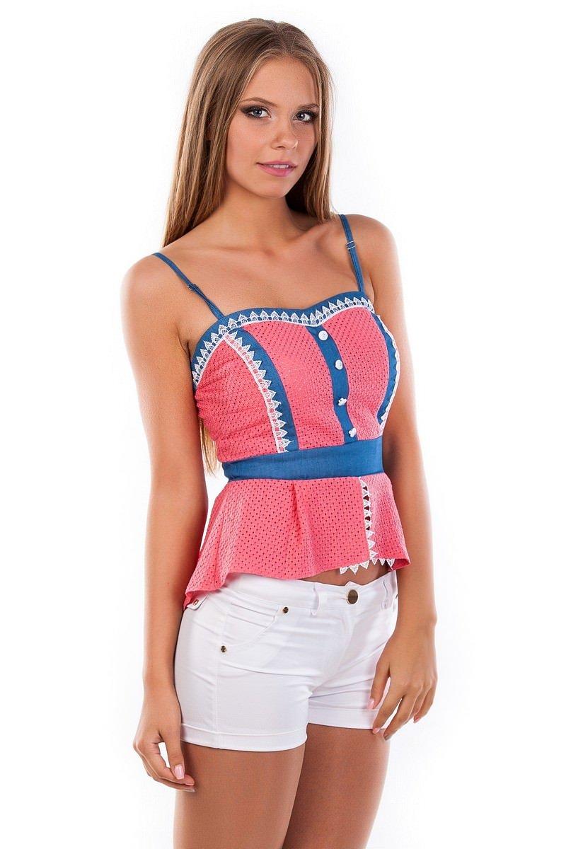 Блуза-топ Люсия 2563 АРТ. 1142 Цвет: Коралл - фото 2, интернет магазин tm-modus.ru