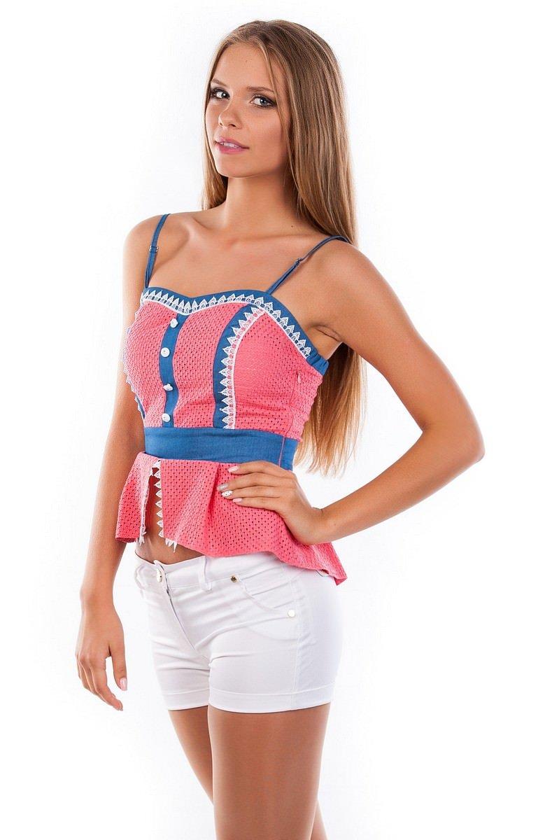 Блуза-топ Люсия 2563 АРТ. 1142 Цвет: Коралл - фото 3, интернет магазин tm-modus.ru