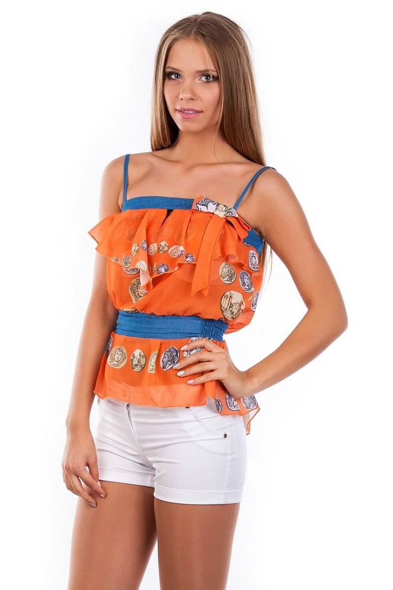 Блуза-топ Мидина 2568 Цвет: Оранжевый монета