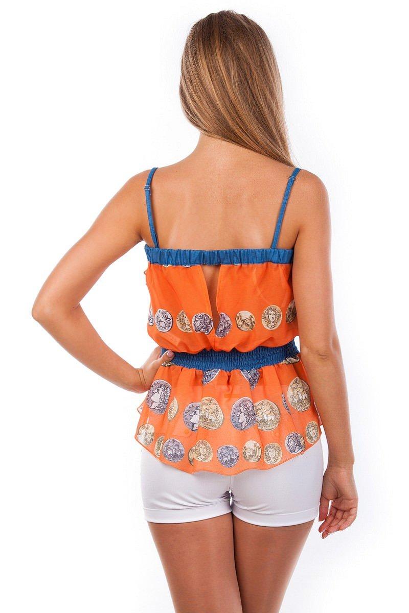 Блуза-топ Мидина 2568 АРТ. 1108 Цвет: Оранжевый монета - фото 4, интернет магазин tm-modus.ru
