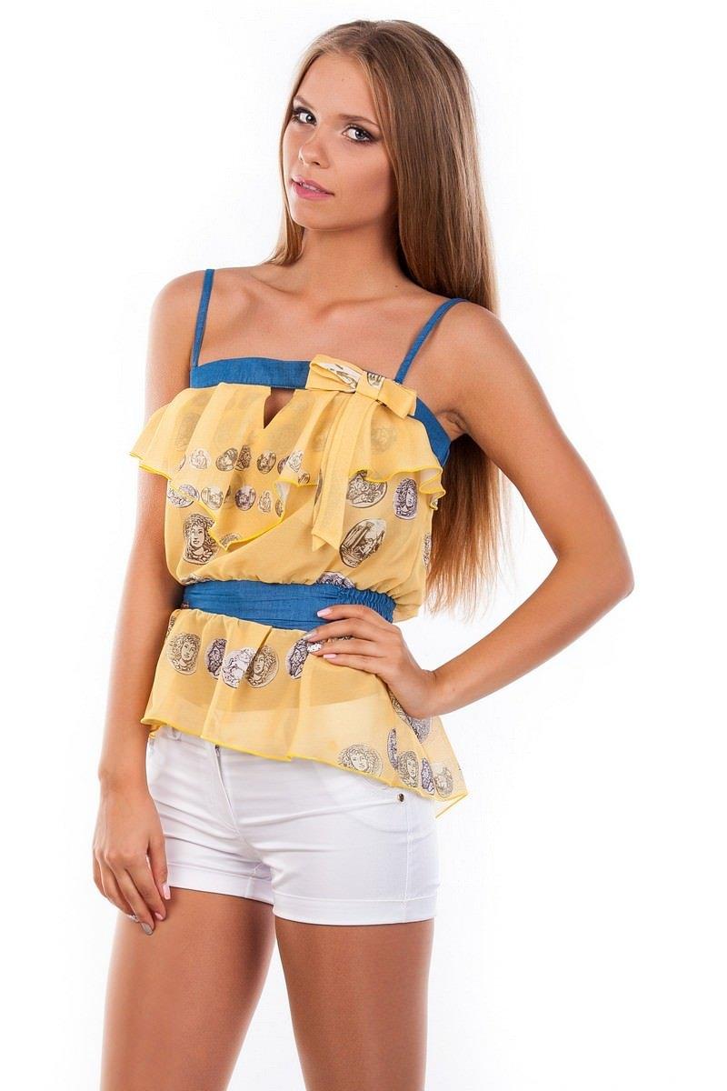 Блуза-топ Мидина 2568 АРТ. 1104 Цвет: Желтый монета - фото 3, интернет магазин tm-modus.ru
