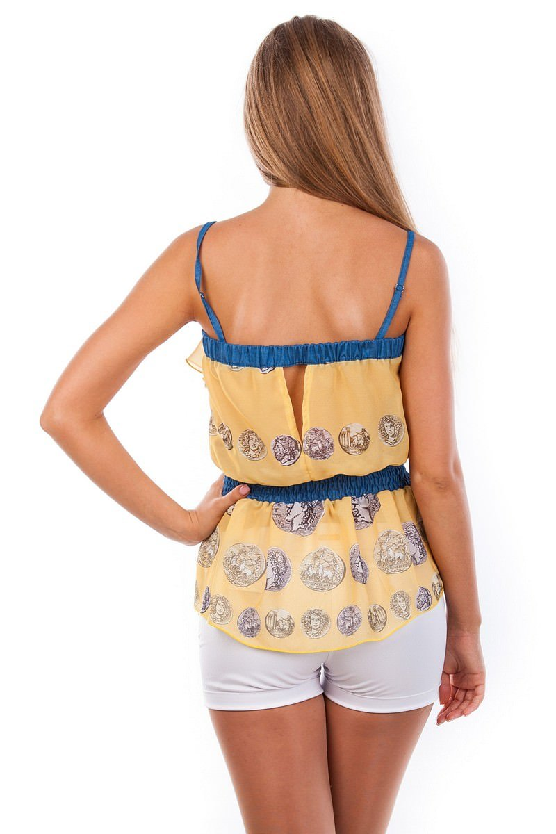 Блуза-топ Мидина 2568 АРТ. 1104 Цвет: Желтый монета - фото 4, интернет магазин tm-modus.ru
