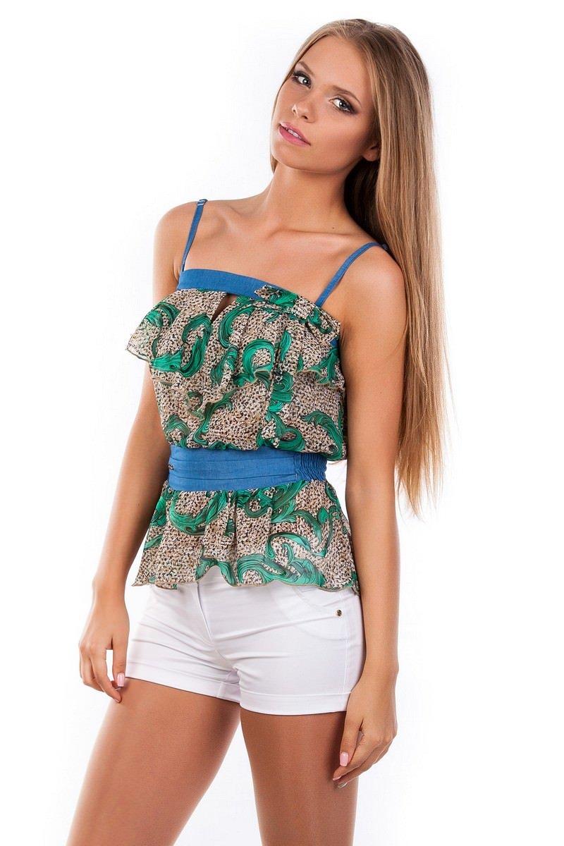 Блуза-топ Мидина 2568 АРТ. 1106 Цвет: Зеленый рябь, вензеля - фото 3, интернет магазин tm-modus.ru