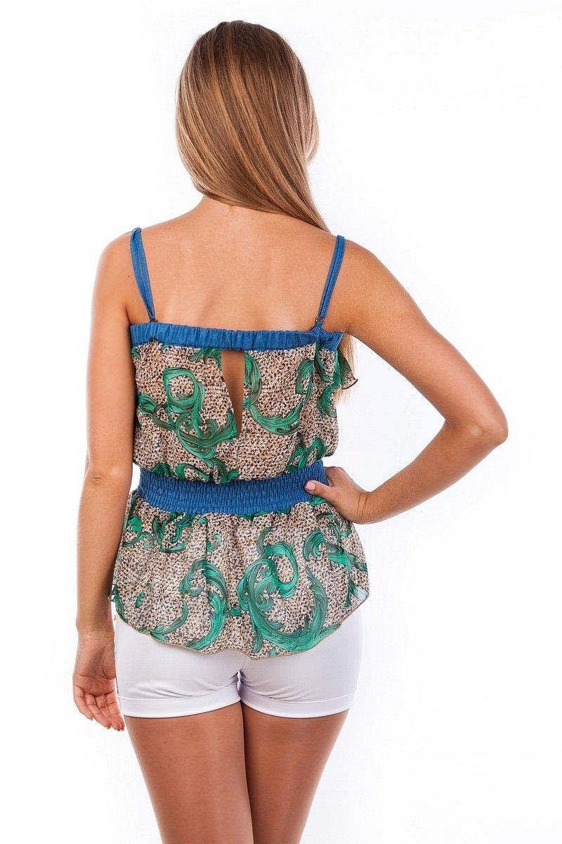 Блуза-топ Мидина 2568 АРТ. 1106 Цвет: Зеленый рябь, вензеля - фото 4, интернет магазин tm-modus.ru