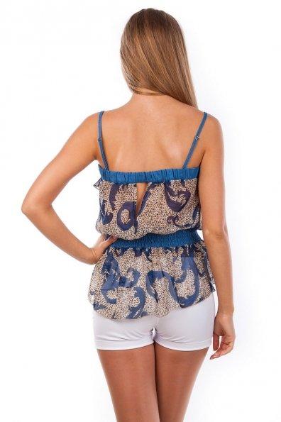 Блуза-топ Мидина 2568 Цвет: Темно - синий рябь, вензеля