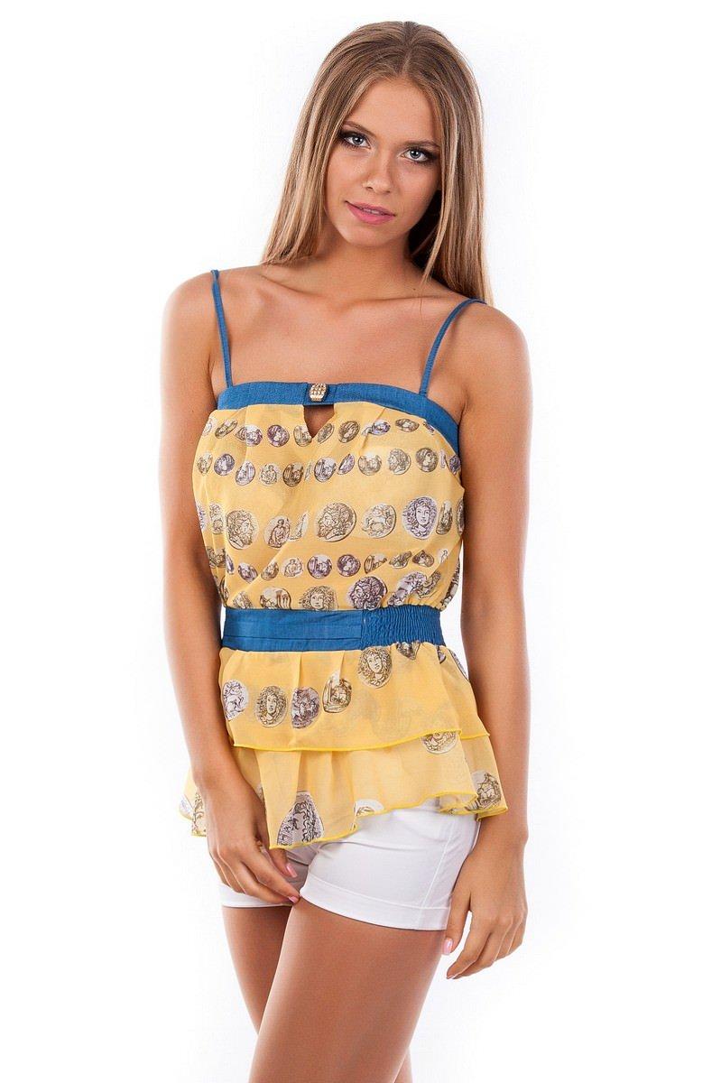 Блуза-топ Сальма 2547 АРТ. 1099 Цвет: Желтый монета - фото 3, интернет магазин tm-modus.ru