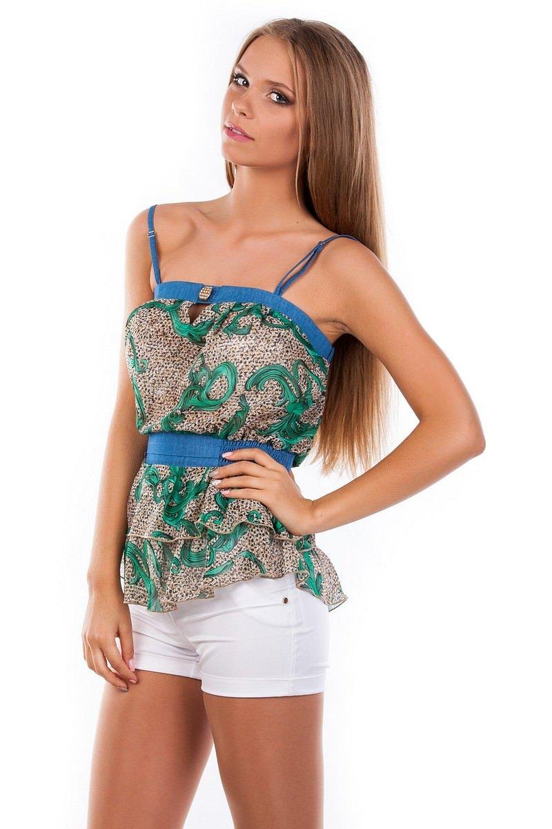 Блуза-топ Сальма 2547 Цвет: Зеленый рябь, вензеля