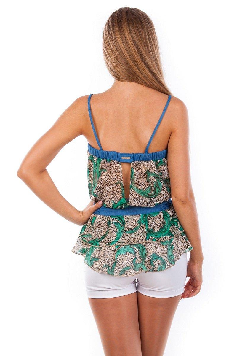 Блуза-топ Сальма 2547 АРТ. 1101 Цвет: Зеленый рябь, вензеля - фото 4, интернет магазин tm-modus.ru