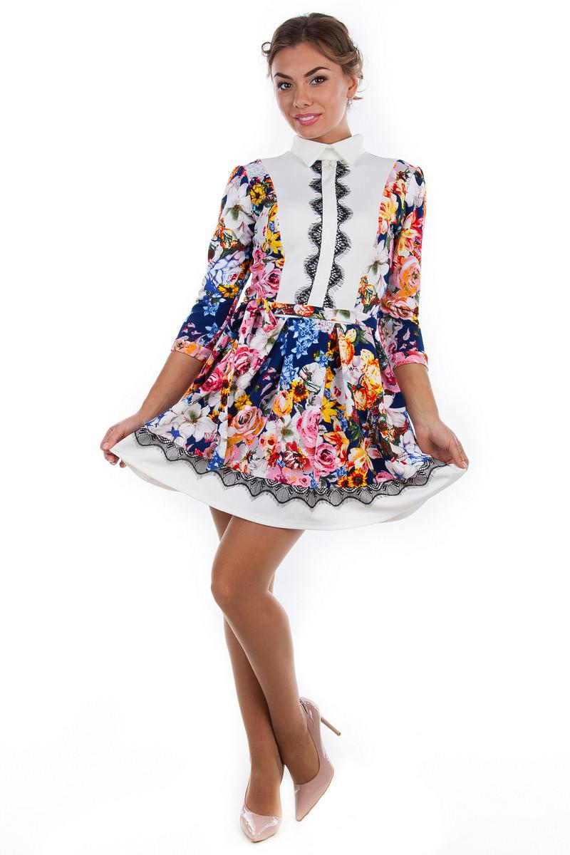 Купить платья оптом от производителя Платье Орнелла принт