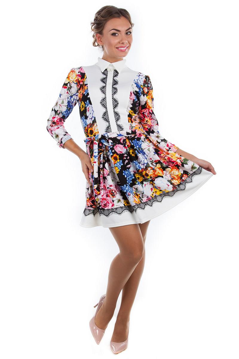 Платья трикотажные оптом от производителя Платье Орнелла принт