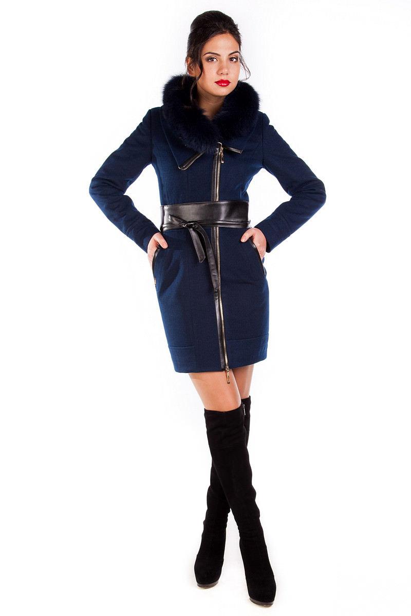 Купить оптом женское пальто недорого Пальто Канны песец