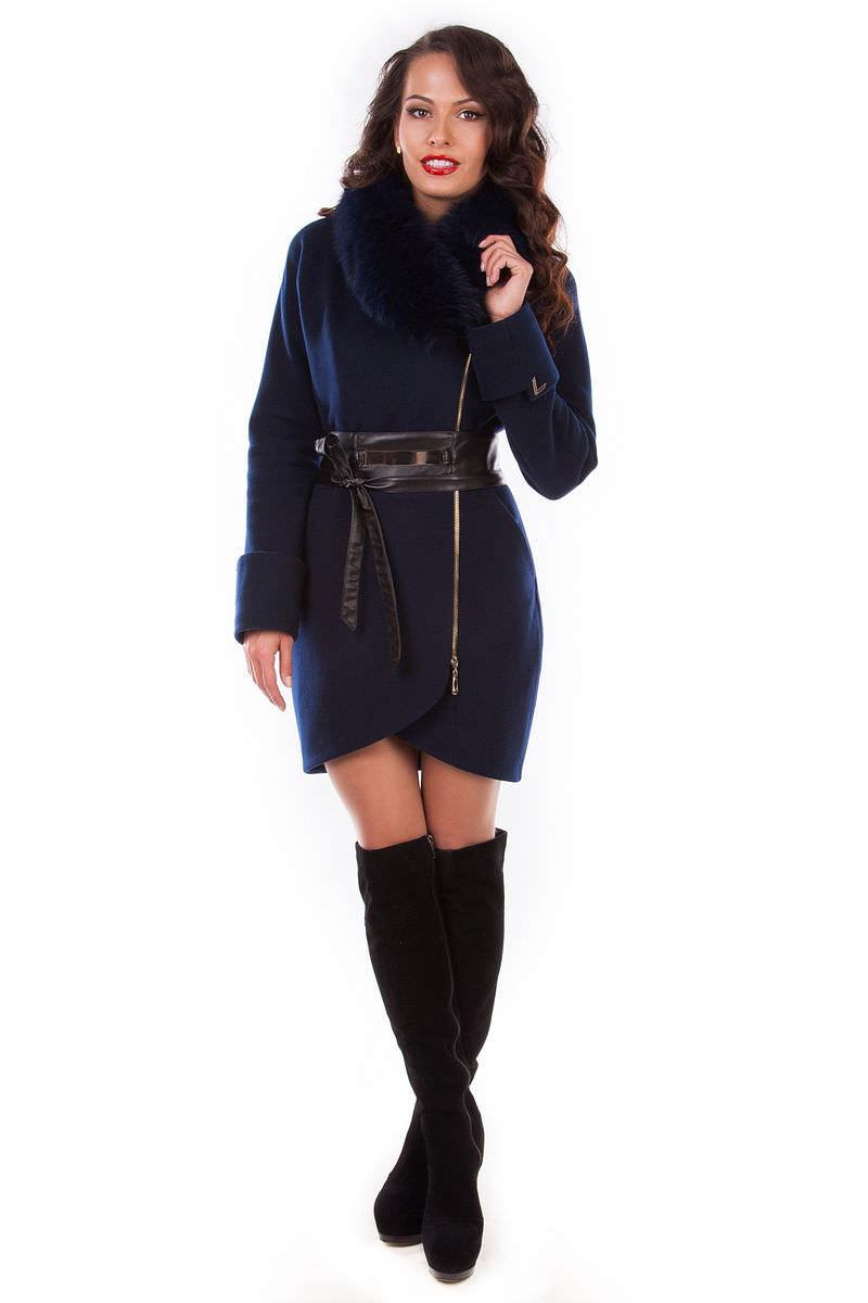Женская одежда оптом от производителя Modus Пальто Статус зима песец