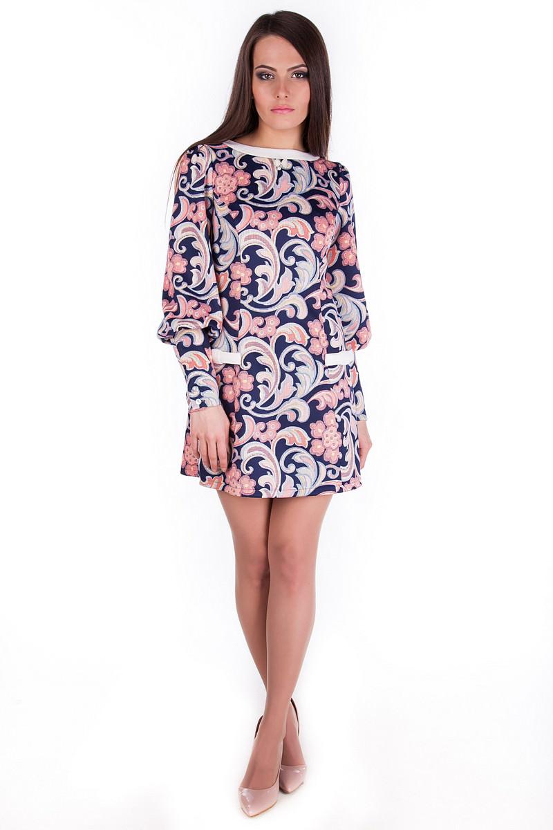 Платья трикотажные оптом от производителя Платье Виолетта дайвинг принт