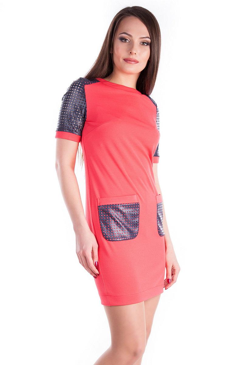 Платье Астер 3370 Цвет: Коралл / Т.синий