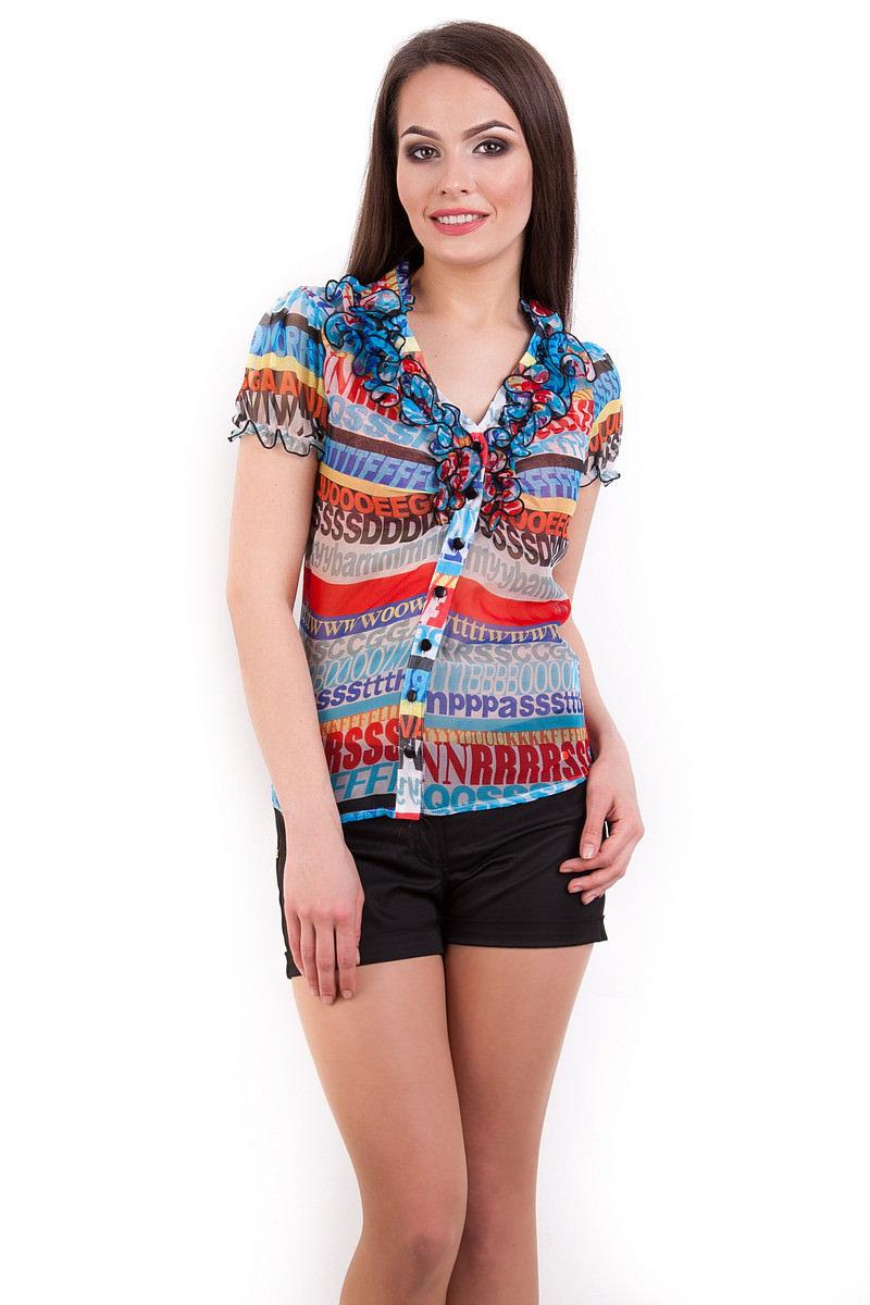 Школьные блузы оптом от производителя Блуза Лола шифон короткий рукав