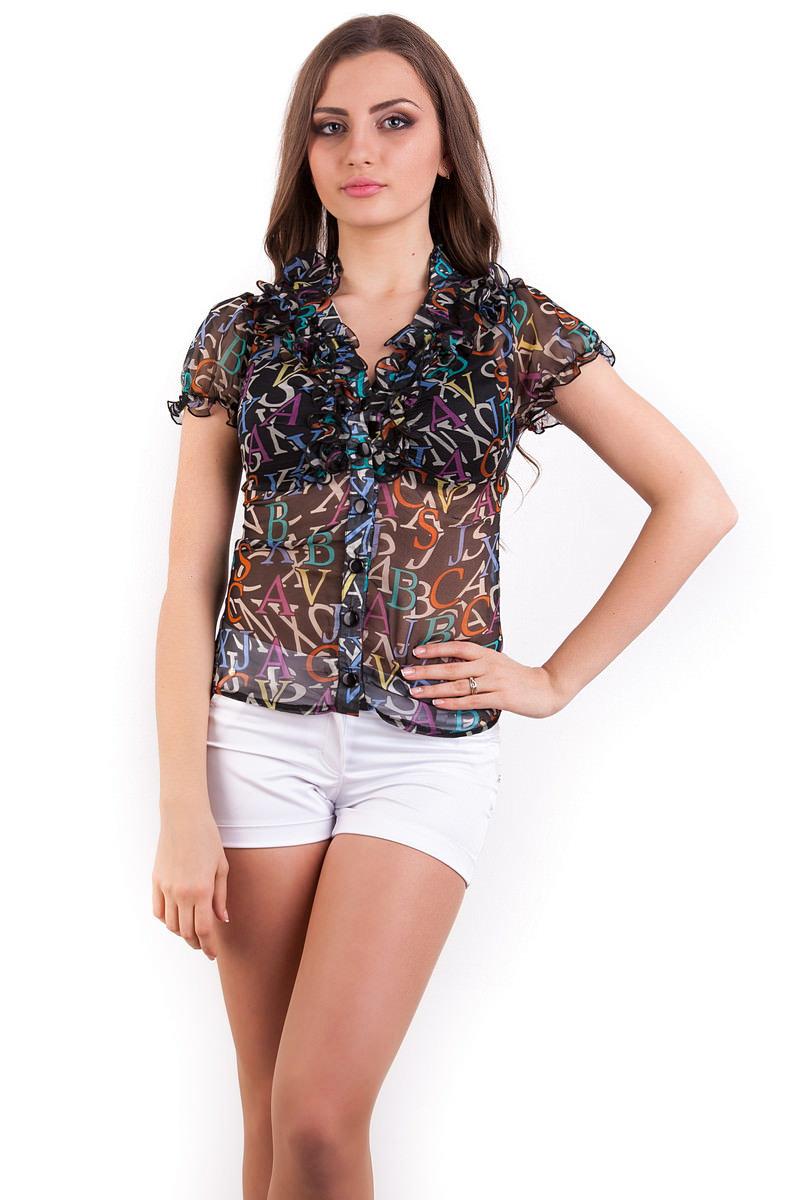 Купить женские блузки оптом в Украине Блуза Лола шифон короткий рукав