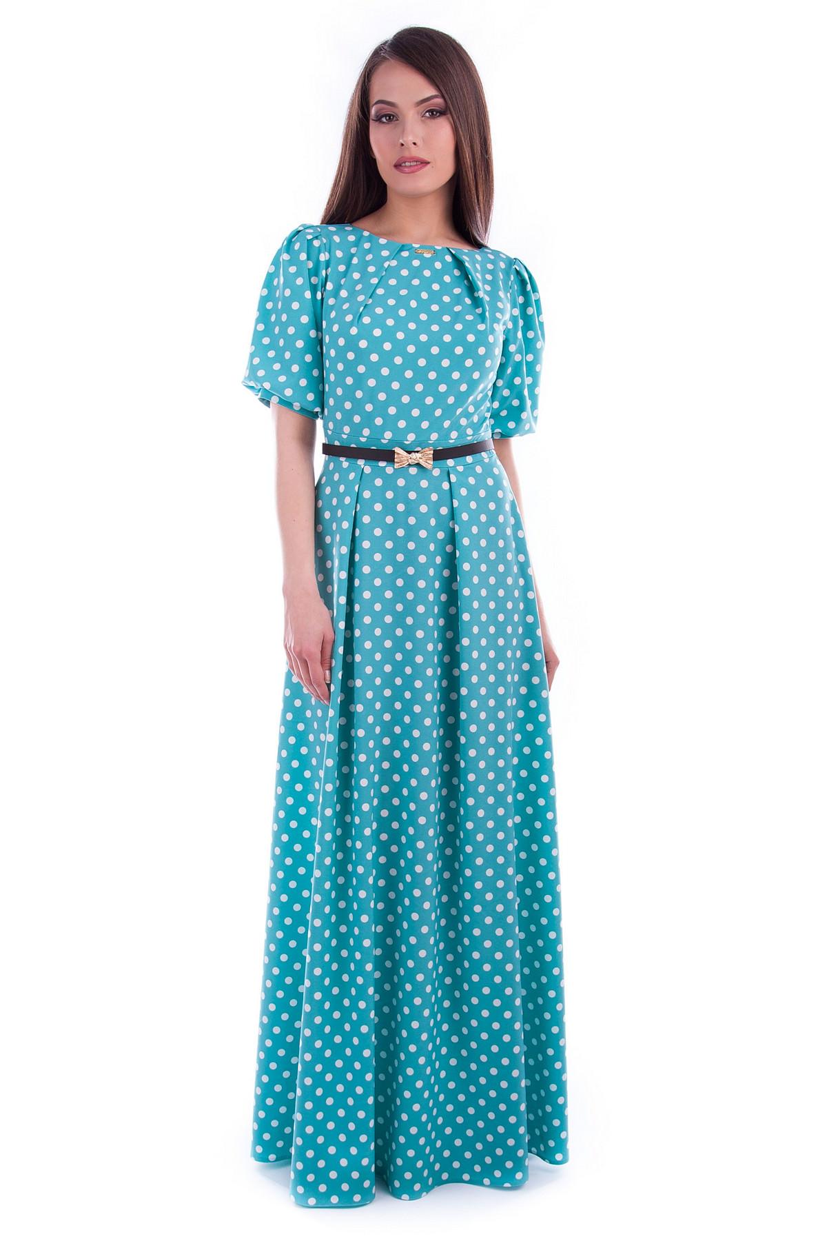 Платье Марта вискоза принт Цвет  Мята Горох белый средний 5 5caeb7d7002df