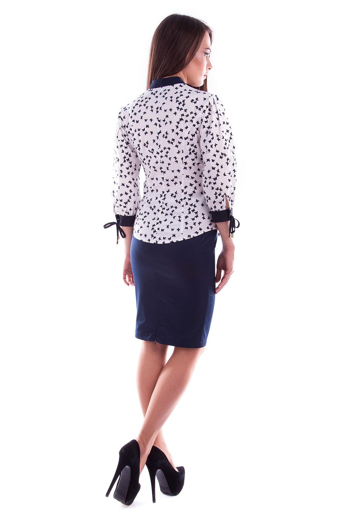 Блуза Батерфляй Цвет: Белый Бабочка тёмно-синий 1 / тёмно-синий