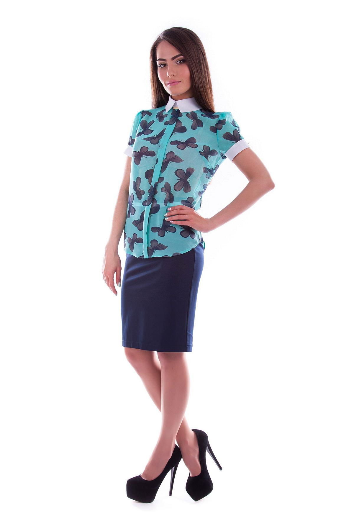 Блузки оптом от производителя Modus Блуза Lips шифон принт к/р