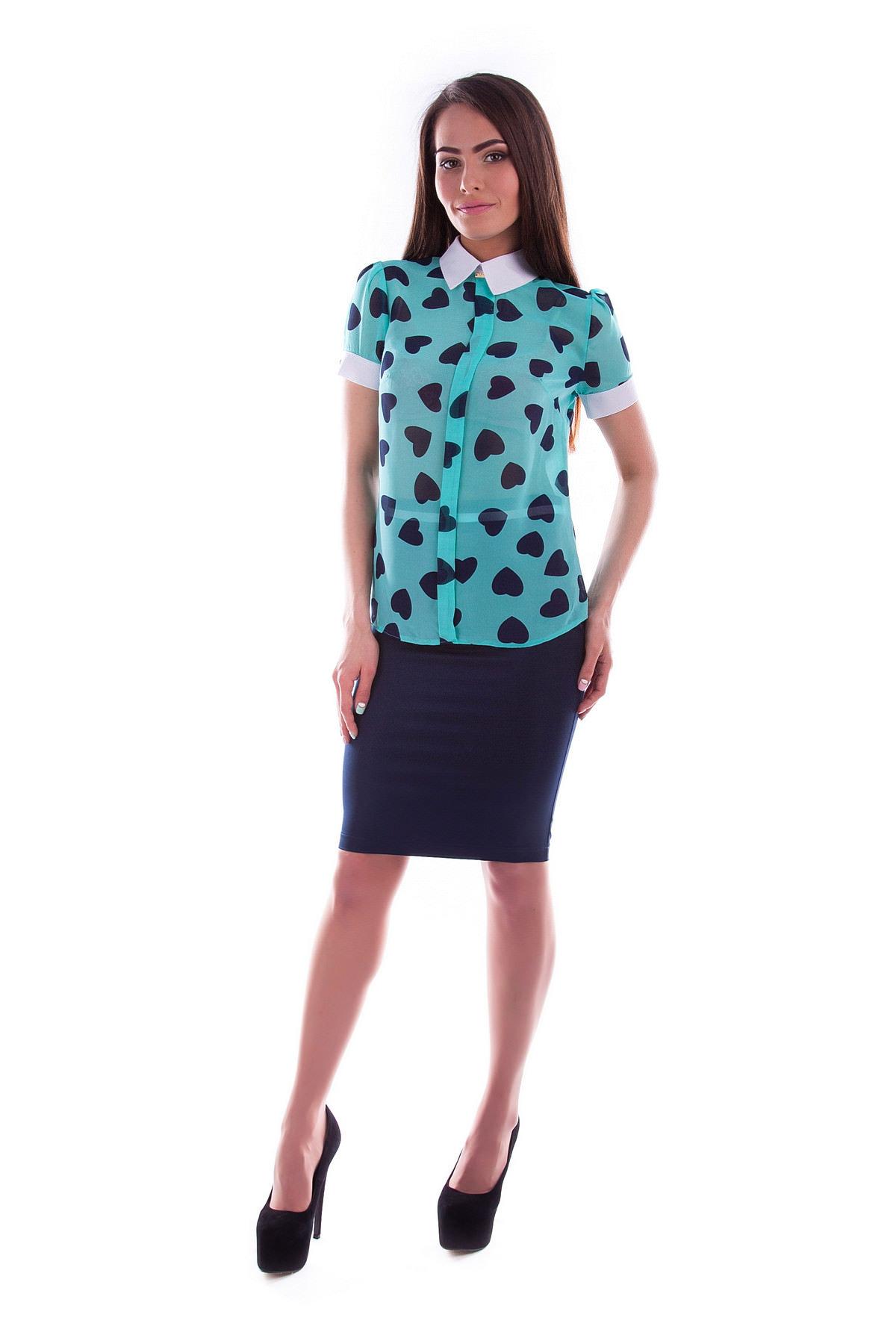 Купить женскую одежду оптом Блуза Lips шифон принт к/р