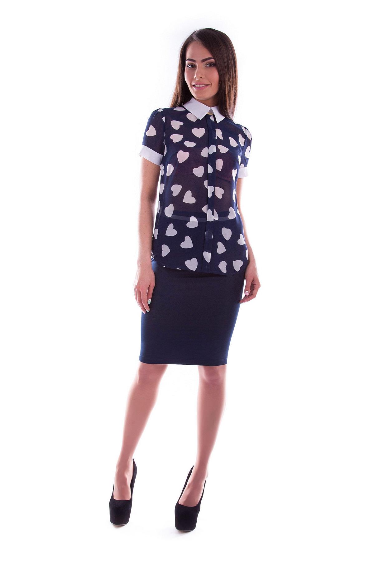Женские блузки оптом от производителя Блуза Lips шифон принт к/р
