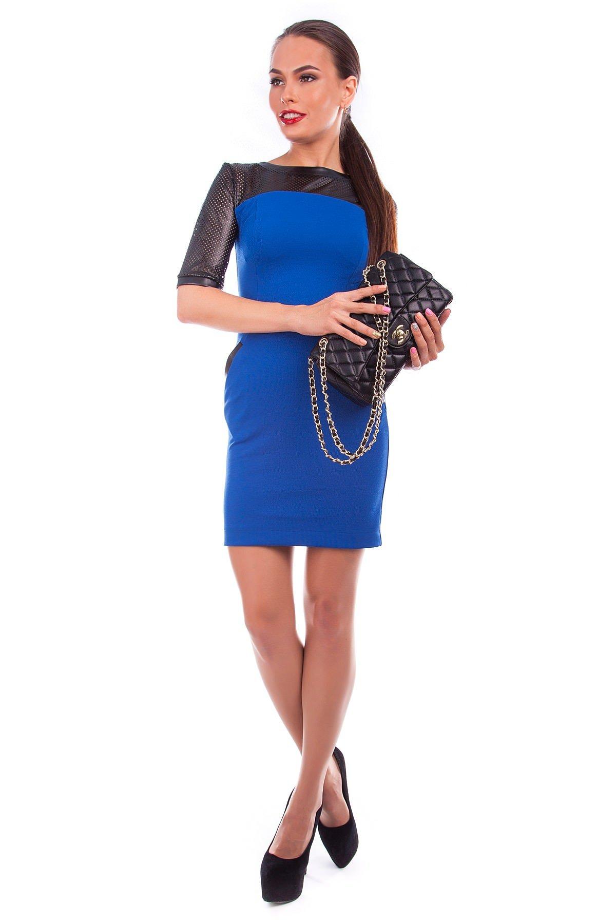 Платье Дитта 3/4 Цвет: Электрик / черный