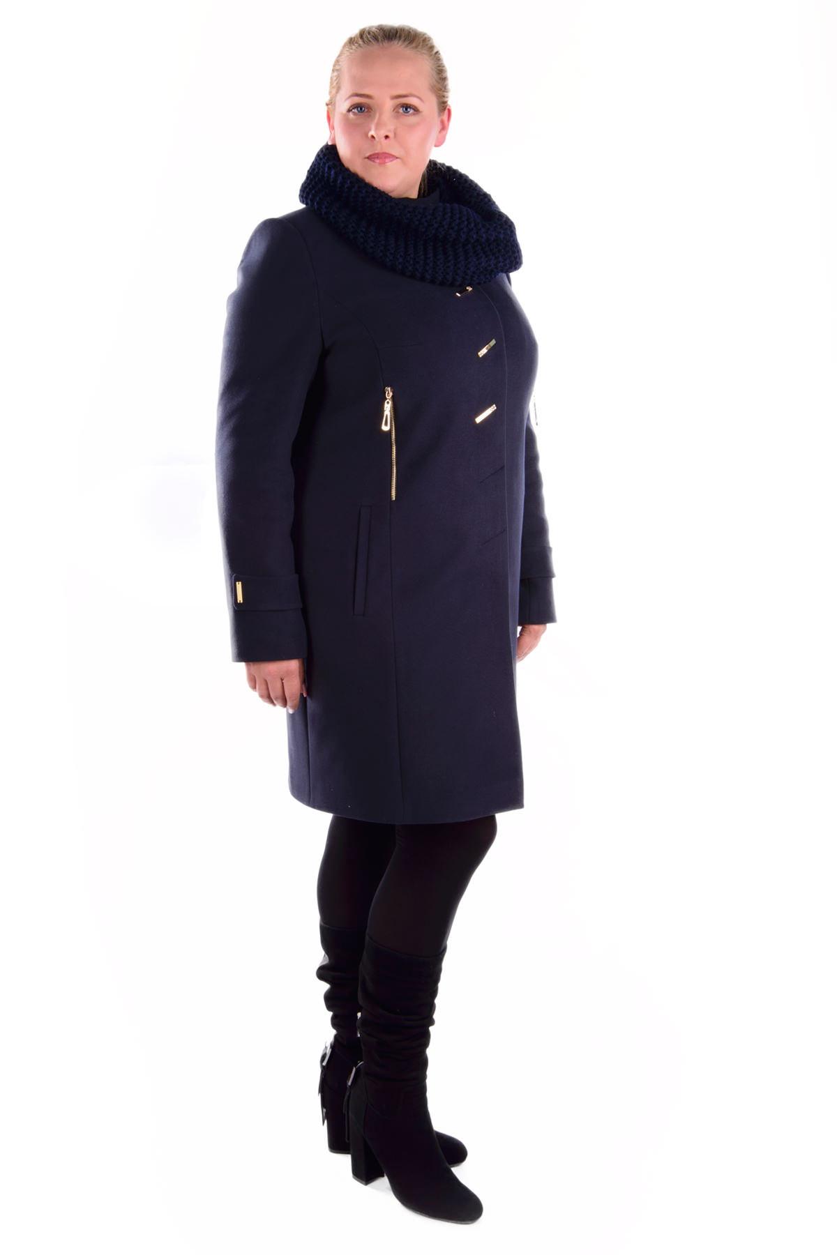 купить зимнее пальто женское большого размера Пальто Палермо Donna хомут зима