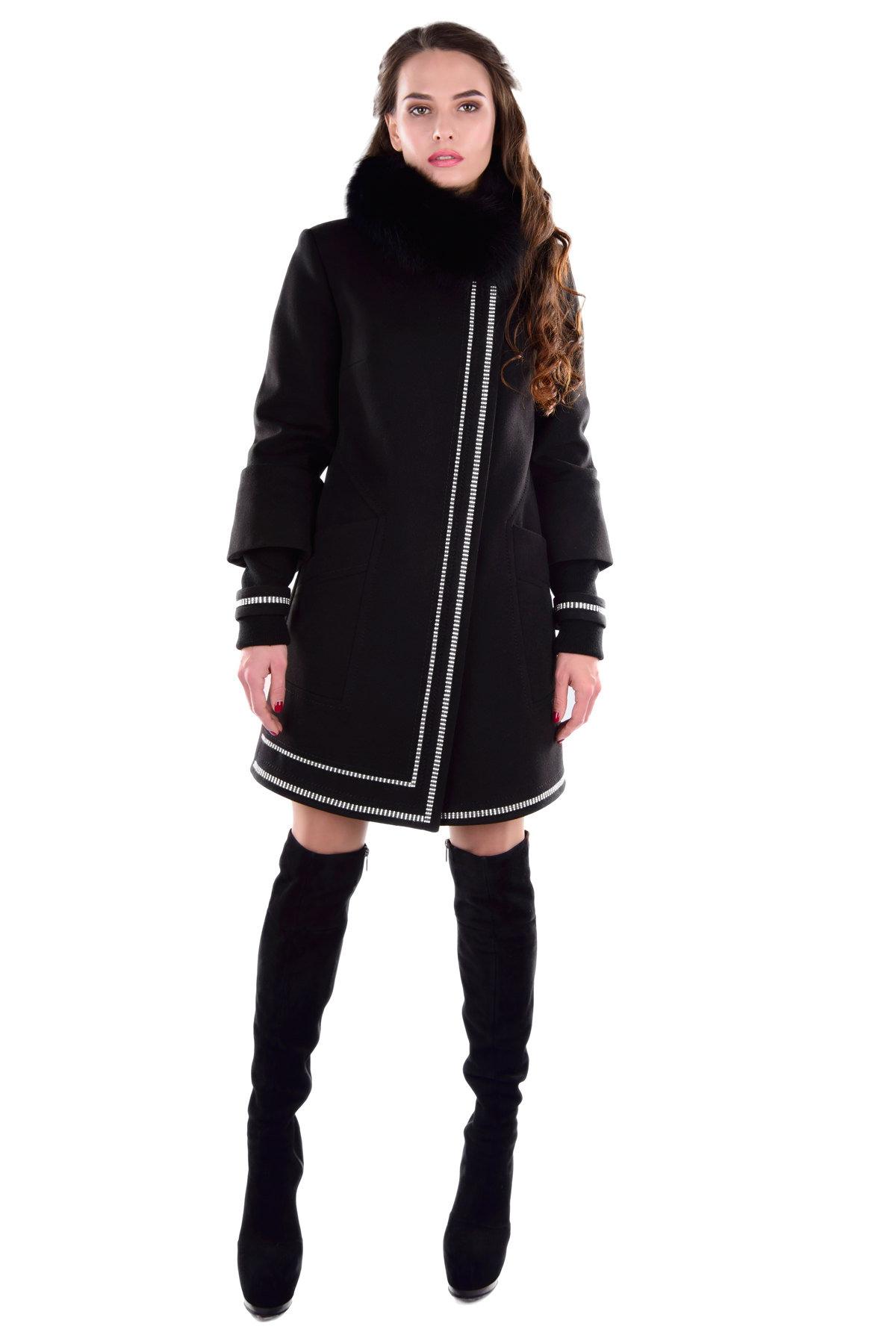 Купить оптом женское пальто у производителя Пальто Паркер зима песец