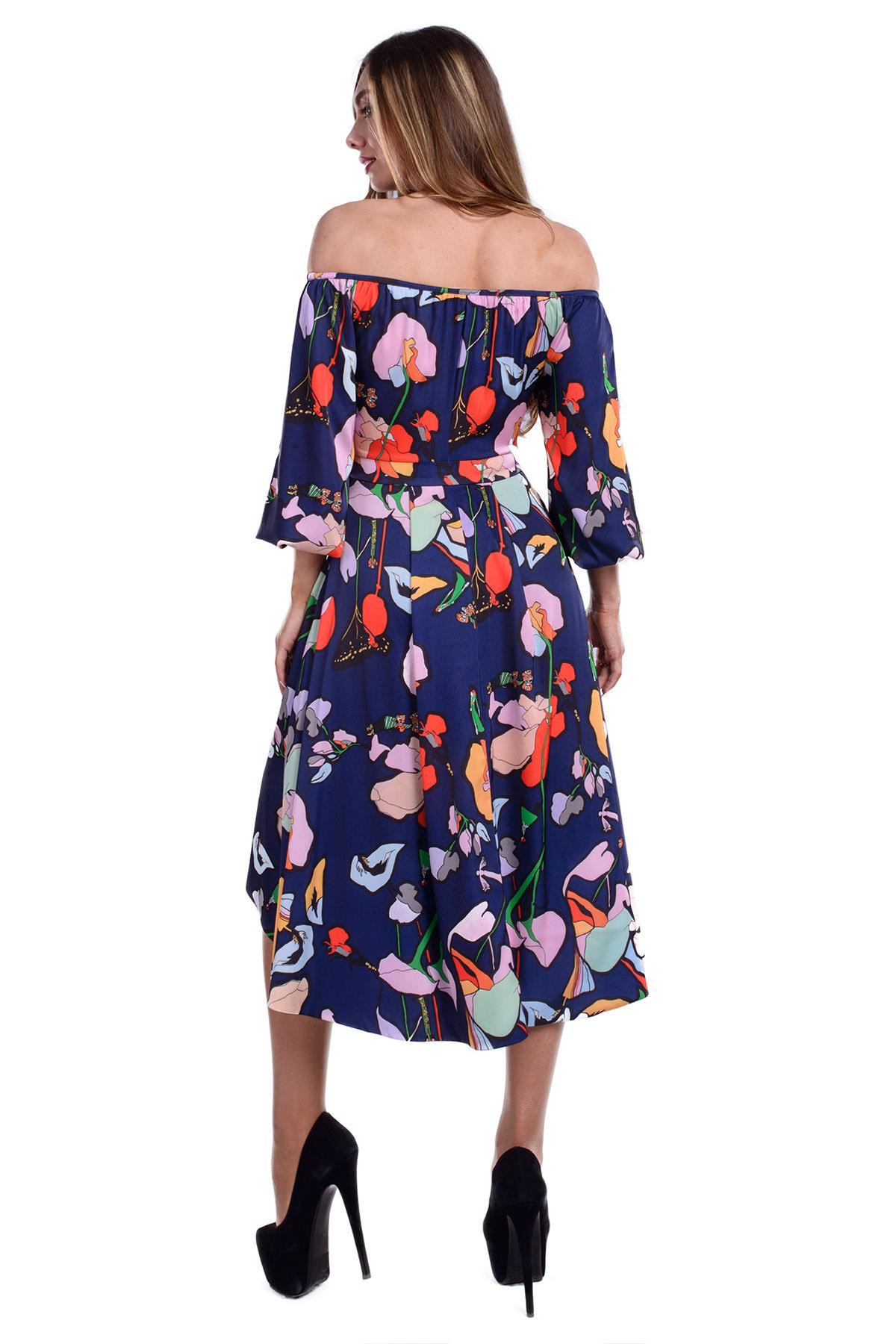 Платье Мэрлин 19 Цвет: Тёмно-синий цветы
