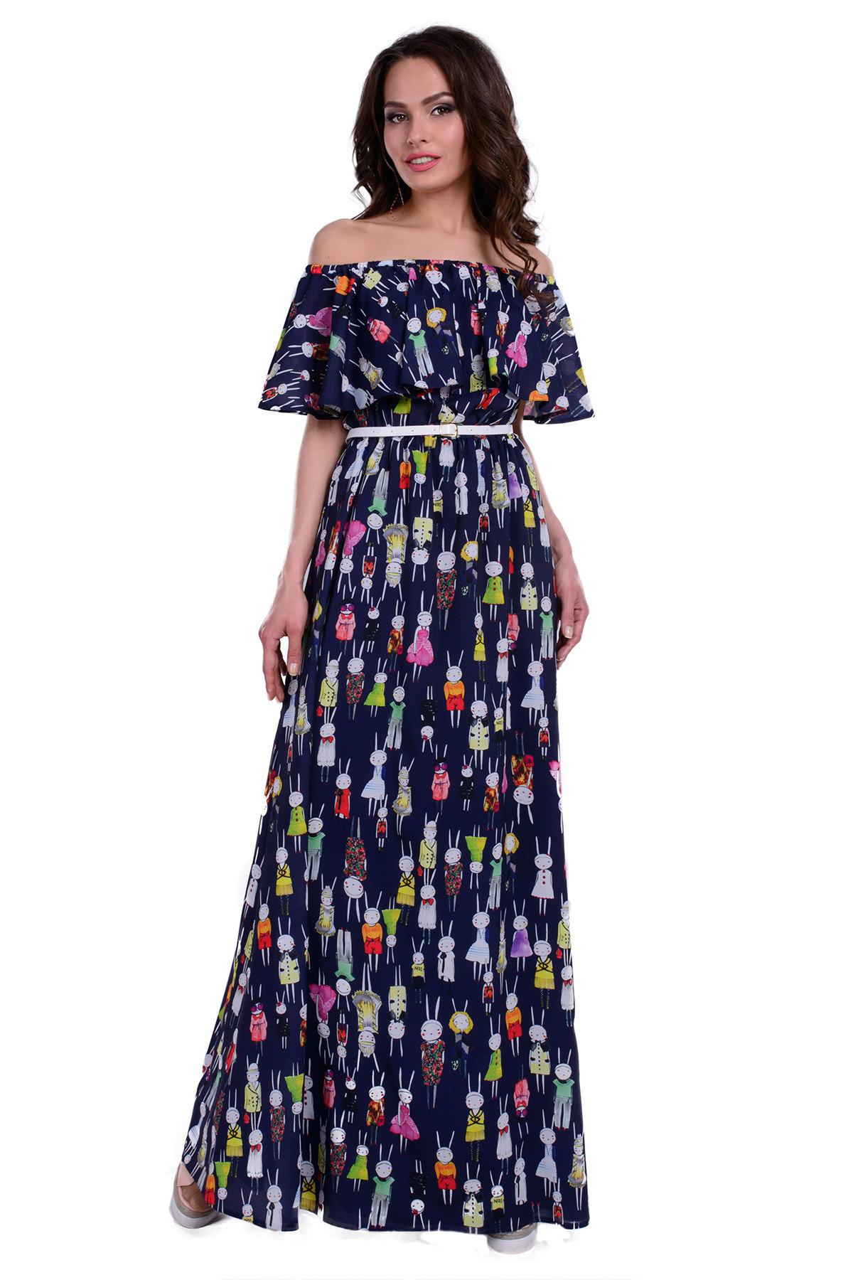 c5e63a50945 Купить платья оптом от производителя Платье Крис креп шифон принт стрейч