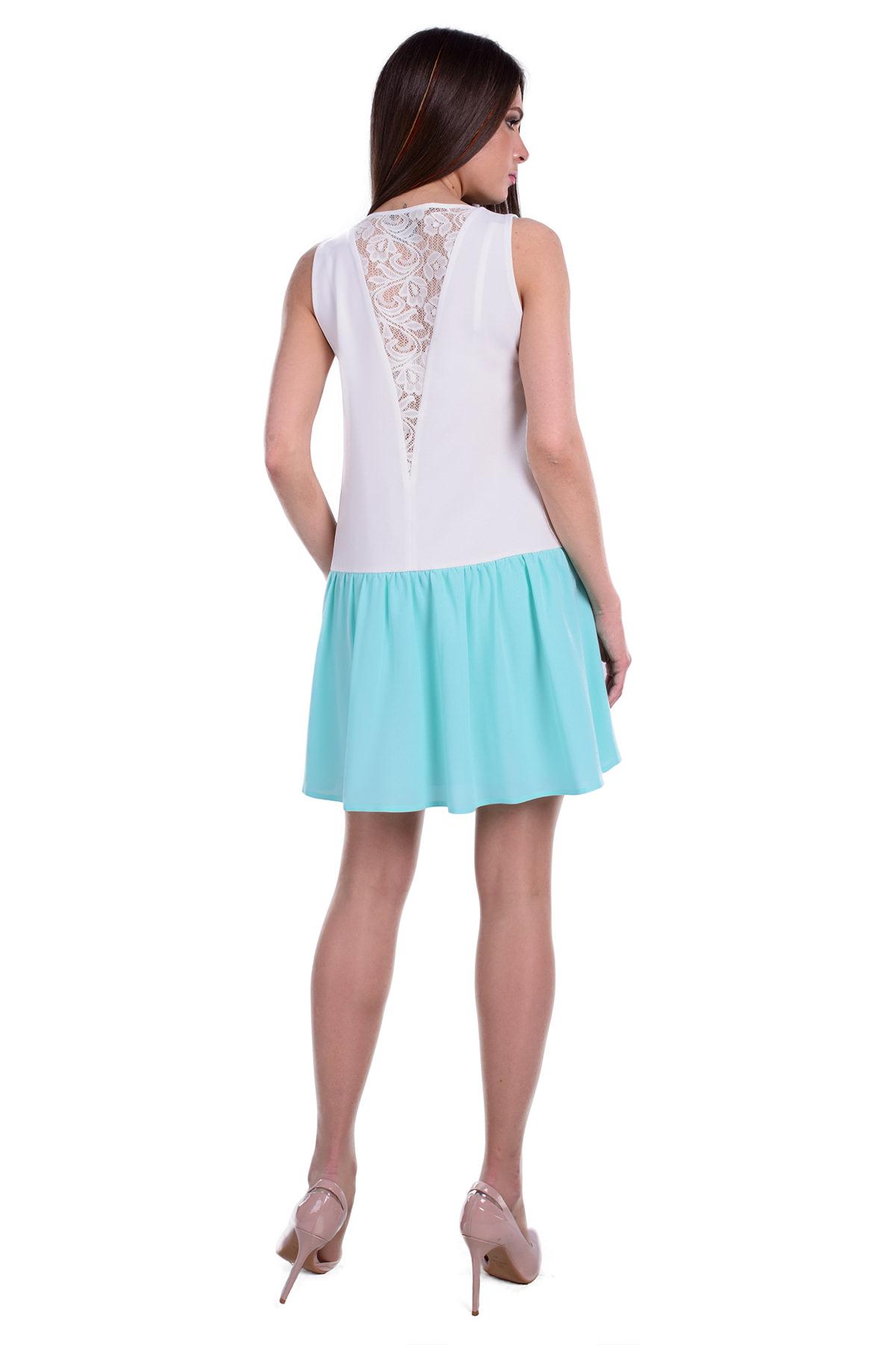 Платье Ланара креп шифон АРТ. 6358 Цвет: Мята / молоко - фото 3, интернет магазин tm-modus.ru