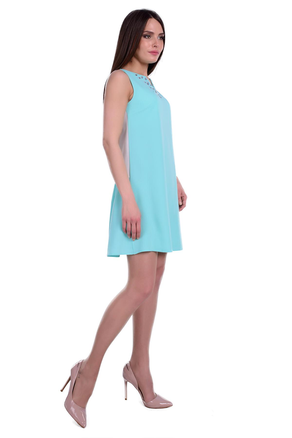 Платье Ланара креп шифон АРТ. 6358 Цвет: Мята / молоко - фото 2, интернет магазин tm-modus.ru