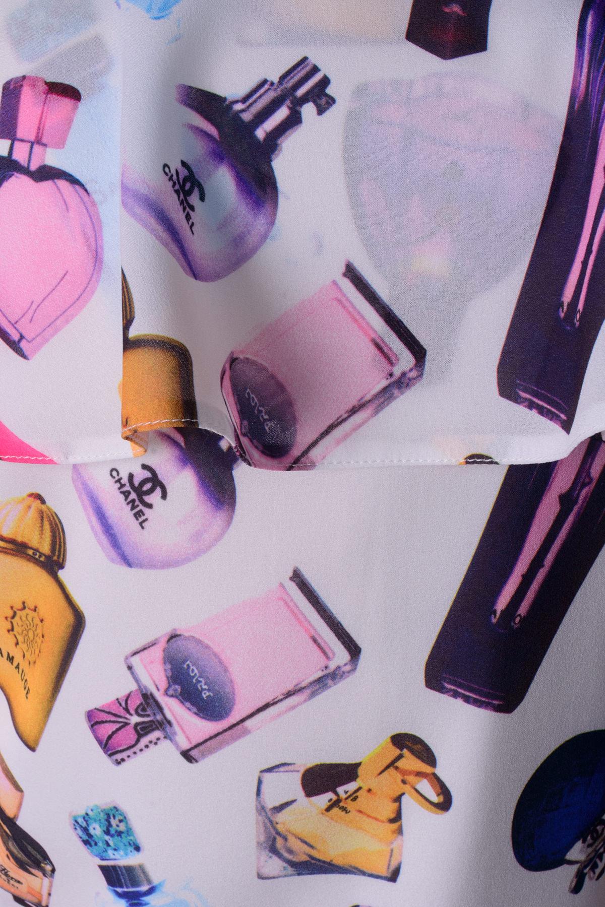 Платье Ревье принт креп шифон Цвет: Молоко Духи