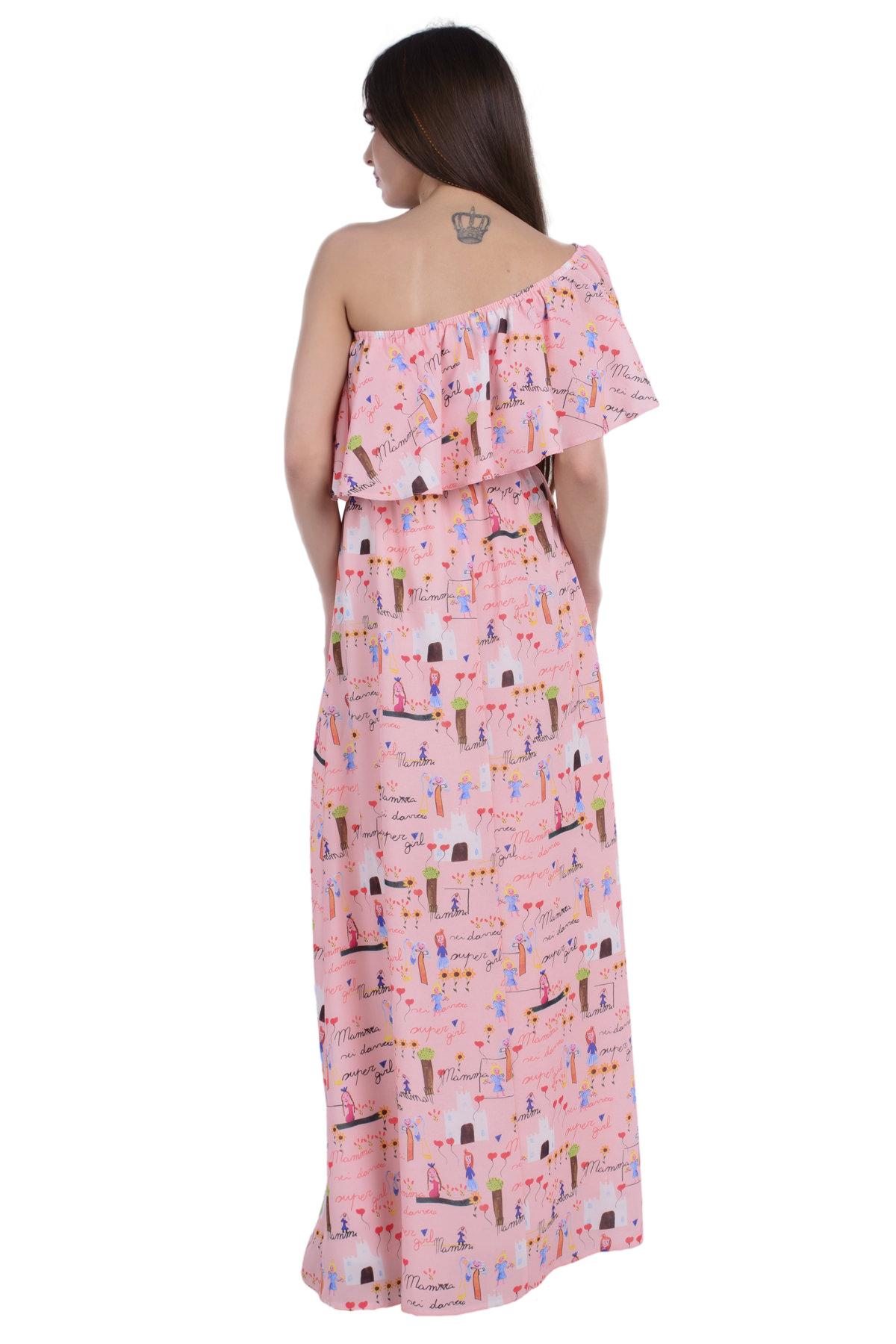65681ed5fcd Платье Крис креп шифон принт стрейч АРТ. 6421 Цвет  Персик детские рисунки  16