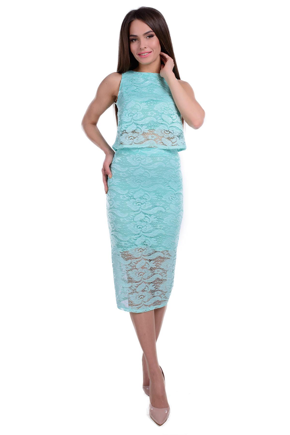 d57d480a1d6 Платья трикотажные оптом от производителя Комплект блуза + юбка Пати гипюр  набивной
