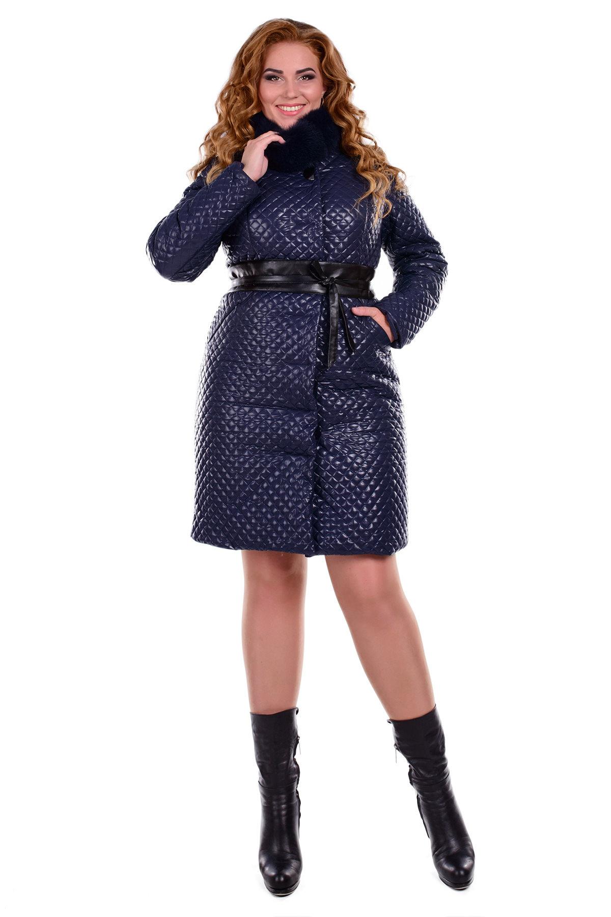купить зимнее пальто женское большого размера Пальто Андрия Donna стеганое песец зима