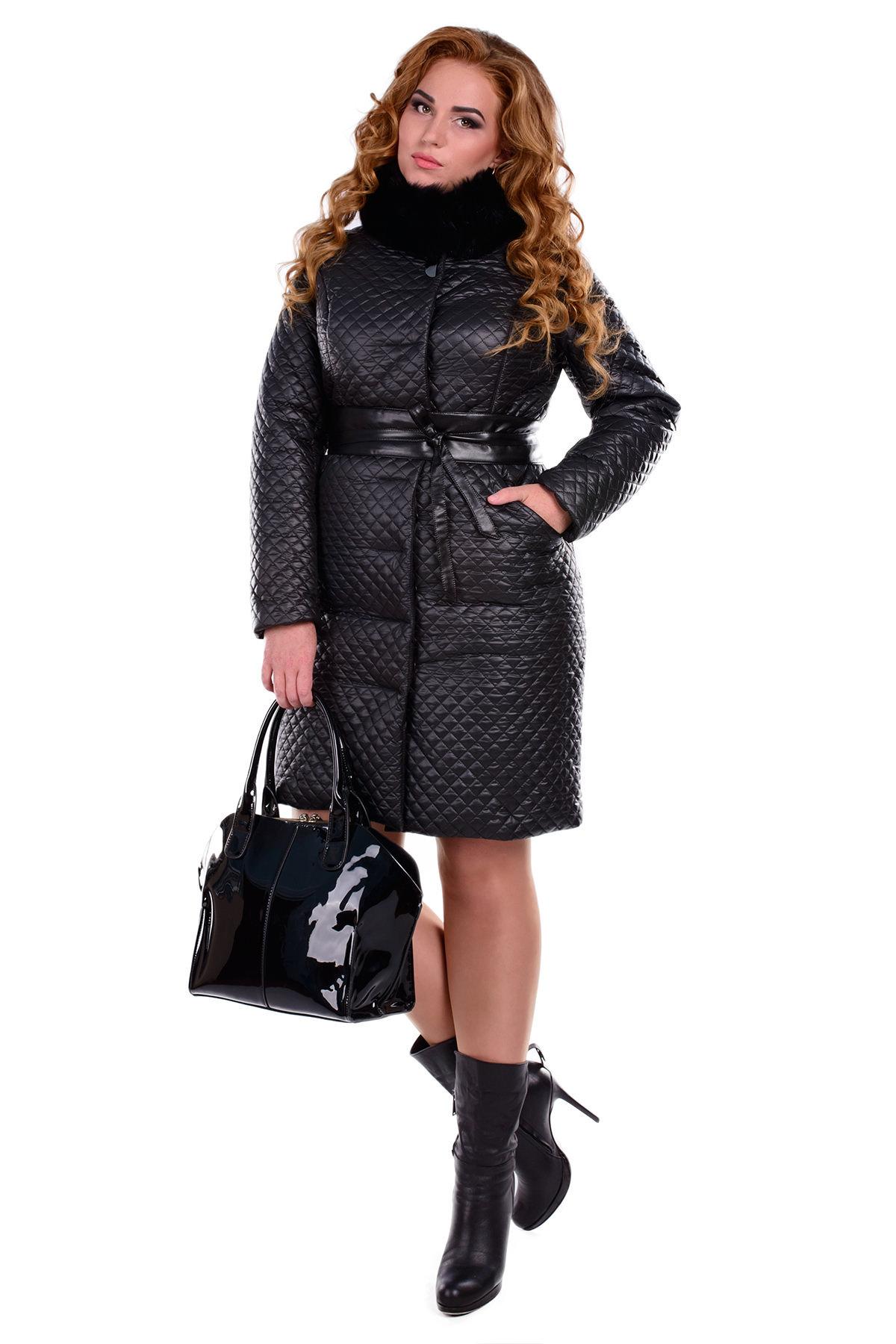 Пальто Андрия Donna стеганое песец зима
