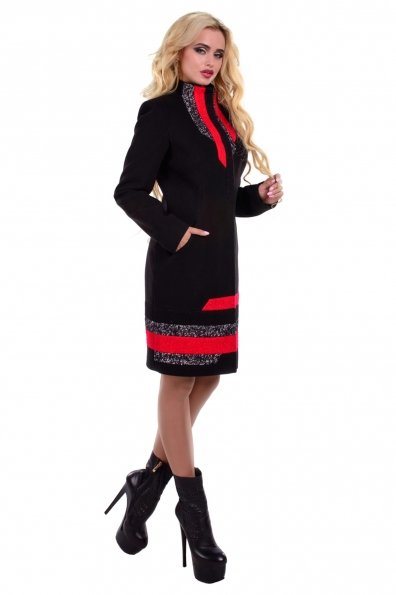 Пальто Фешен 0463 Цвет: Черный/красный