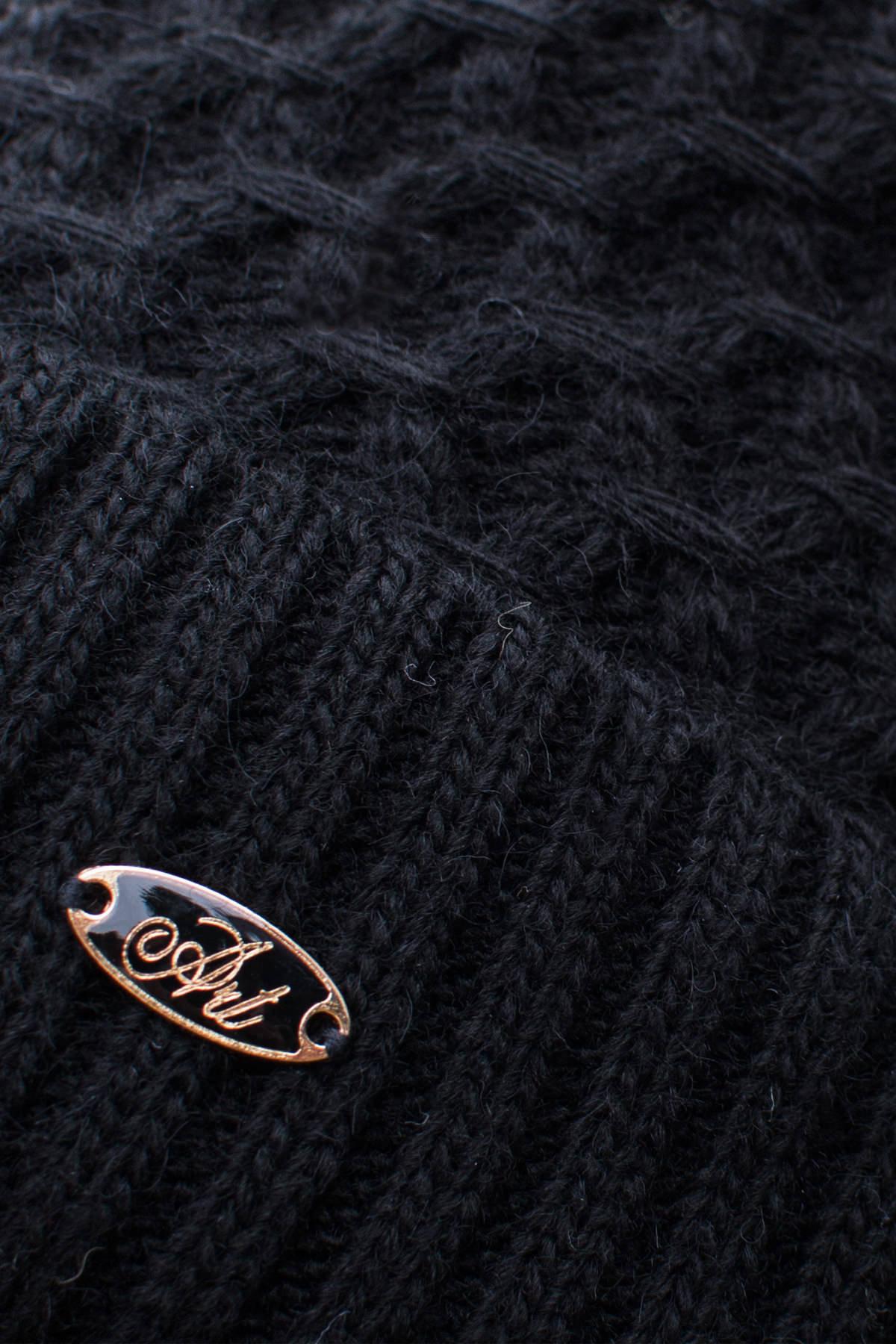 Шапка Лина с бубоном АРТ. 7414 Цвет: Черный - фото 2, интернет магазин tm-modus.ru